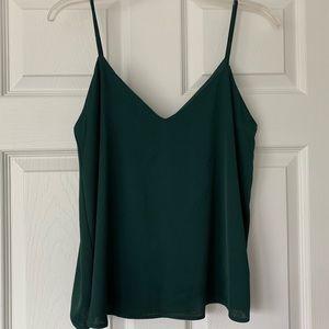Green spaghetti strap blouse